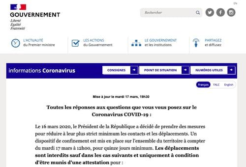 Coronavirus : le site du Gouvernement répond aux questions pratiques SITE-GOUVERNEMENT