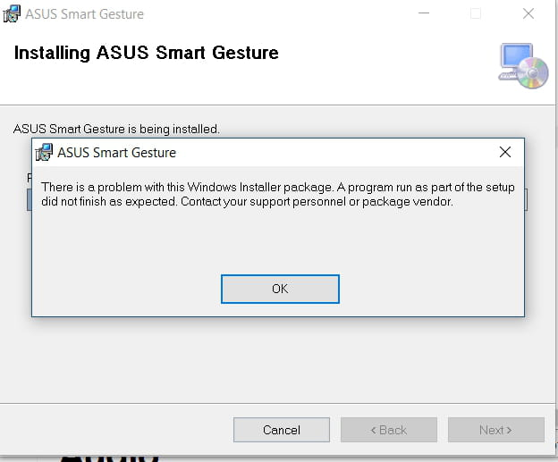 asus smart gesture application introuvable