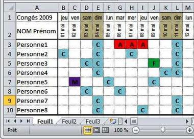 Faire Rapidement Un Planning Conge Sur Excel