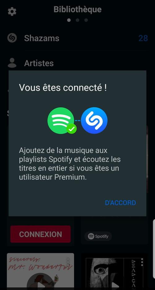 Sauvegarder ses découvertes Shazam dans une playlist Spotify Shazam_4