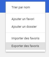 Exporter les favoris de Google Chrome
