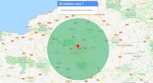 Déconfinement : visualiser une distance de 100 km à vol d'oiseau Rayon_100km