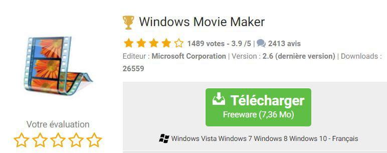 Installer Windows Movie Maker sur Windows 10
