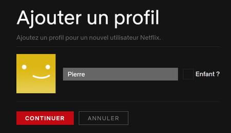 Nouveau profil Netflix