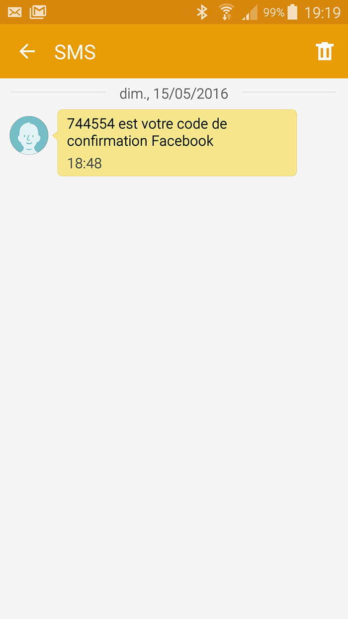 Sms facebook confirmation code