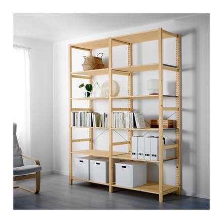 fixer en mode suspendu une biblioth que modulable ivar ikea. Black Bedroom Furniture Sets. Home Design Ideas
