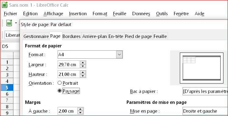 Format Paysage Libreofficecalc Comment ça Marche