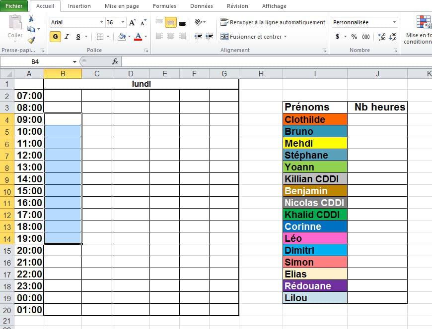 Remplissage Automatique De Planning Calcul Du Nombre D